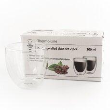 "Dvigubo stiklo stiklinės Amber Chef ""Cappuccino"" 300ml 2vnt"