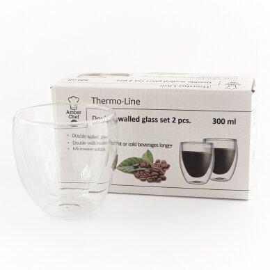 "Dvigubo stiklo stiklinės Amber Chef ""Cappuccino"" 300ml 2vnt 2"