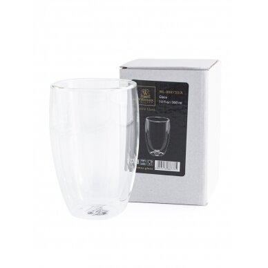Dvigubo stiklo stiklinės Wilmax 300ml 1vnt 2