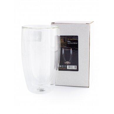 Dvigubo stiklo stiklinės Wilmax 500ml 1vnt 2