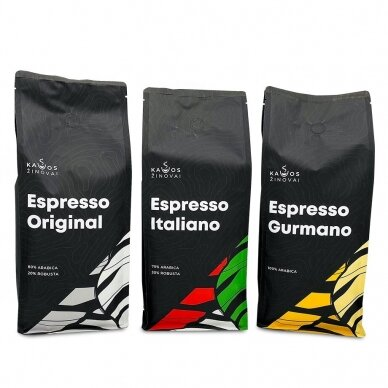 Kavos pupelių rinkinys Kavos Žinovai 3x1kg.