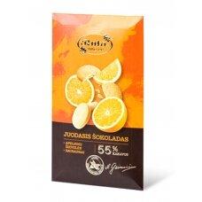 """Rūta """"Juodas šokoladas 55% su apelsinų žievelėmis ir sausainiais"""" 90g."""