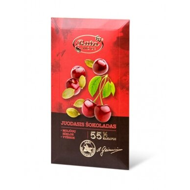 """Rūta """"Juodasis šokoladas 55% su moliūgų sėklomis ir vyšniomis"""" 90g."""