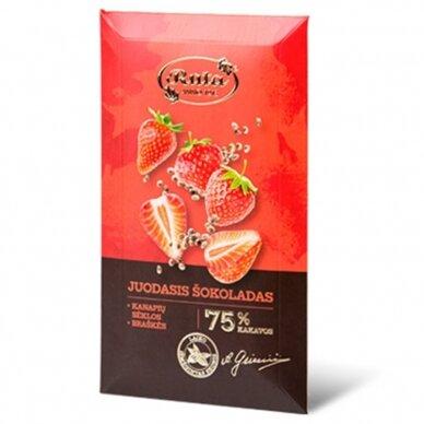 """Rūta """"Juodasis šokoladas 75% su kanapių sėklomis ir braškėmis"""" 90g."""