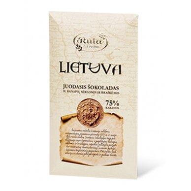 """Rūta Juodasis šokoladas 75% su kanapių sėklomis ir braškėmis """"Lietuva"""" 90g."""